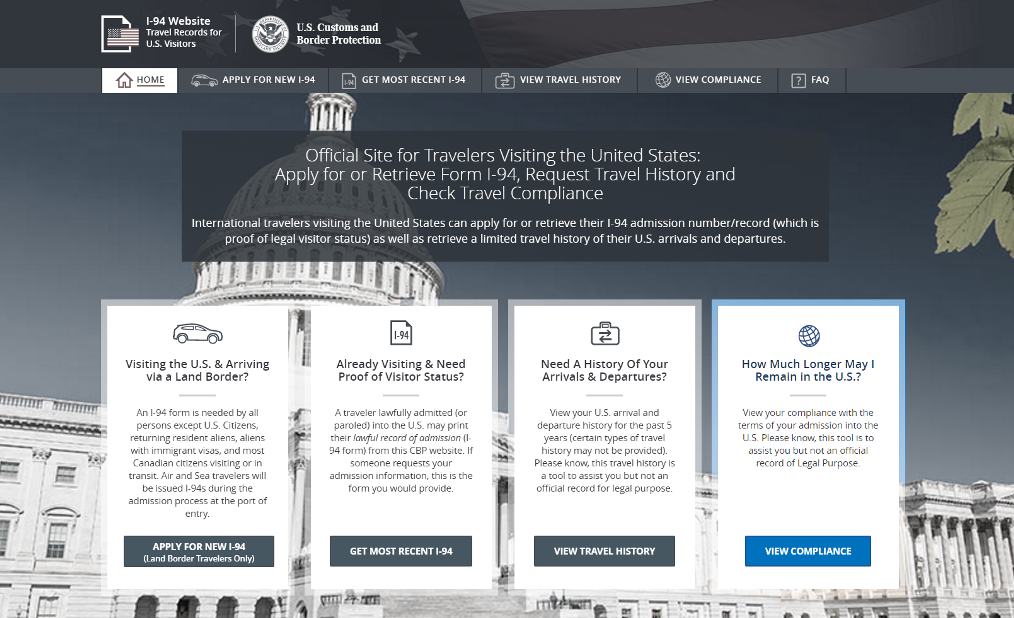 CBP Now Reminding Travelers of Last Departure Date on I-94 Website